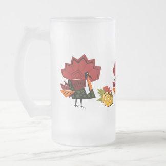 Türkei- und Kürbis-Erntedank-Geschenk-Tassen Mattglas Bierglas
