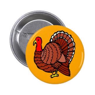 Türkeiseitenprofil auf goldenem Gelb Runder Button 5,7 Cm