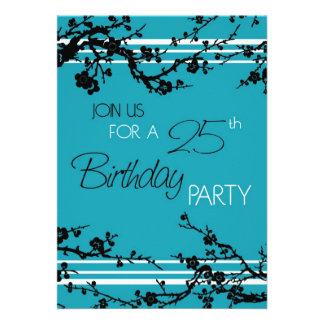 Türkis-25 Geburtstags-Party Einladungs-Karte