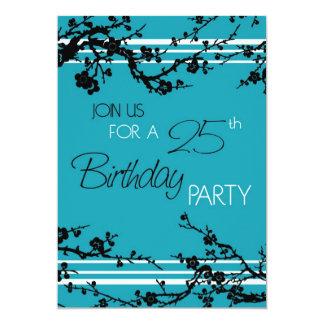 Türkis-25. Geburtstags-Party Einladungs-Karte Einladung