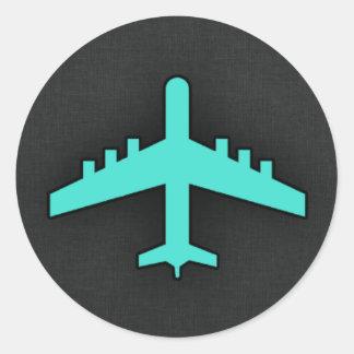 Türkis; Blaues Grün-Flugzeug Runder Aufkleber