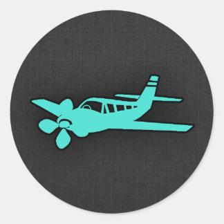 Türkis; Blaues Grün-kleines Flugzeug Runder Aufkleber
