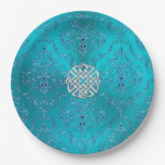 Türkis-Damastceltic-Knoten Pappteller