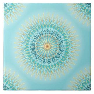 Türkis-GoldBoho Mandala Große Quadratische Fliese