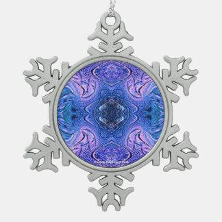 Türkis-lila abstraktes schneeflocken Zinn-Ornament