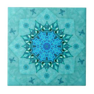 Türkis-Naturmandala-Keramik-Fliese Kleine Quadratische Fliese