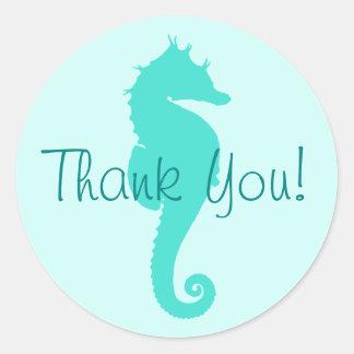 Türkis-Seepferd danken Ihnen Runder Aufkleber