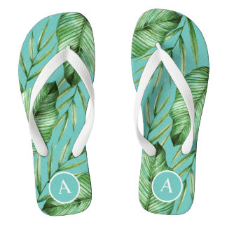 Turquoise Tropical Foliage Pattern with Monogram