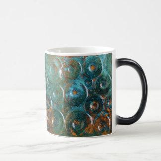 Türkis und Kupfer farbige abstrakte Kaffee-Tasse Verwandlungstasse