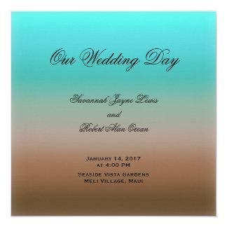 Türkis zum tropischen Hochzeits-Programm Browns Quadratische 13,3 Cm Einladungskarte