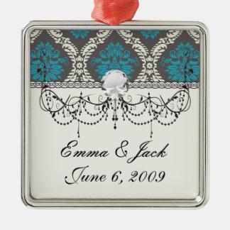 Türkisblaucreme und brauner reizender Damast Silbernes Ornament