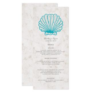 Türkisrustikales Seashell-Hochzeits-Menü Karte