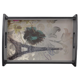 Turm Shabby Chic-Blumen-Wirbelsparis Eiffel Tablett