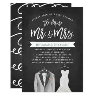 Tux-und Kleiderpaar-Polterabend-Einladung Karte