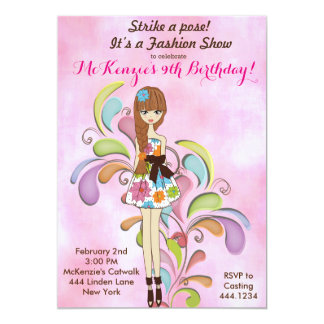 Tween-Mädchen-Mode-Geburtstags-Einladung 12,7 X 17,8 Cm Einladungskarte