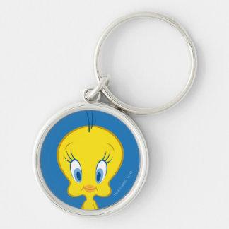 Tweety™ | unschuldiger kleiner Vogel Silberfarbener Runder Schlüsselanhänger