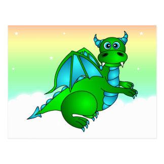 Twilight Flug - niedlicher grüner u. blauer Drache Postkarte