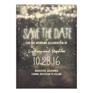 Twinkle beleuchtet rustikale Save the Date Karten Individuelle Ankündigung