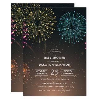 Typografie-Baby-Dusche des Feuerwerk-Party-| Karte