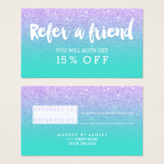 Typografie-Lavendel-Glitter der Empfehlungskarte Visitenkarten