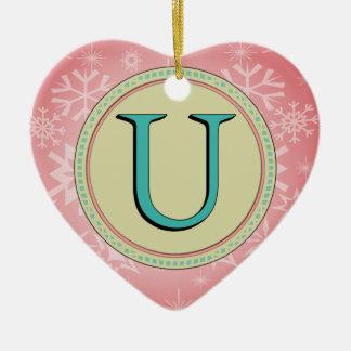 U-MONOGRAMM-BUCHSTABE KERAMIK Herz-Ornament