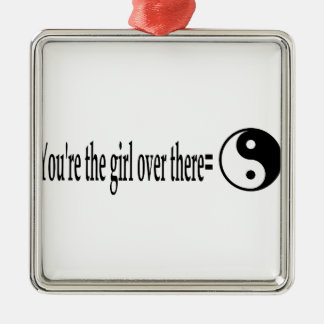 U R das Mädchen Quadratisches Silberfarbenes Ornament