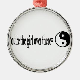 U R das Mädchen Rundes Silberfarbenes Ornament