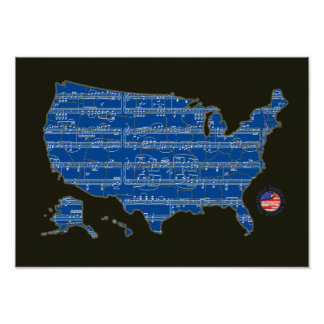 U.S.A. Karte des Musiknotens blau Poster