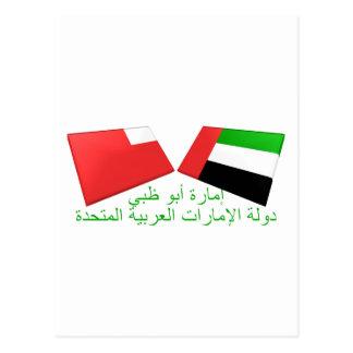 UAE u. Abu Dhabi-Flaggen-Fliesen Postkarte