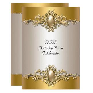 UAWG Goldcreme-elegante Geburtstags-Party-Perle Karte
