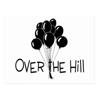 Über den Hügel-Schwarz-Ballonen Postkarte