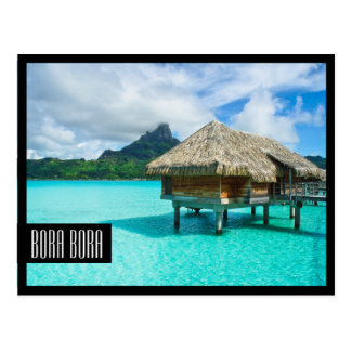 Über-Wasser Bungalow Bora Bora schwarze Postkarte