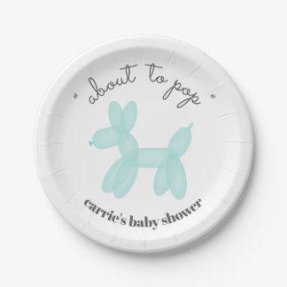 Über zu Pop-Ballon-tierischer blaues Baby-Dusche Pappteller