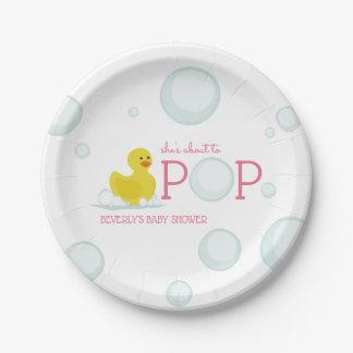 Über zu Pop sprudelt Gummienten-Rosa-Baby-Dusche Pappteller