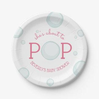 Über zu Pop sprudelt rosa Baby-Dusche Pappteller