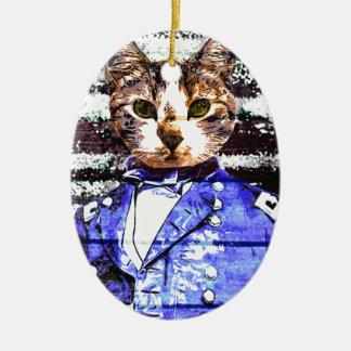 Überarbeitung Kapitäns Meow Ovales Keramik Ornament