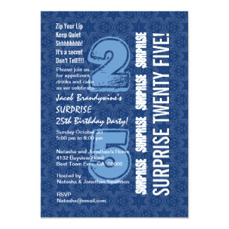 ÜBERRASCHEN Sie 25. Geburtstags-modernes blaues Personalisierte Einladungskarten