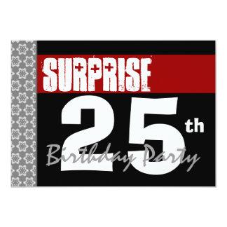 Überraschen Sie 25. Geburtstags-modernes Schwarzes 12,7 X 17,8 Cm Einladungskarte