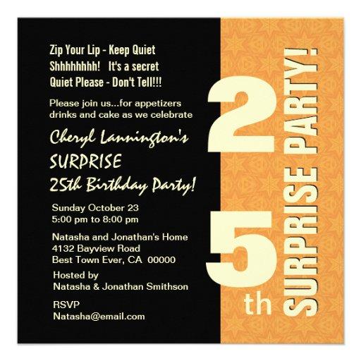 ÜBERRASCHEN Sie 25. Jahr-Geburtstags-Gold und Personalisierte Einladungskarten