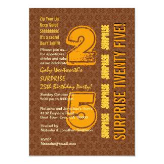 ÜBERRASCHEN Sie 25. modernen Geburtstag Brown und 12,7 X 17,8 Cm Einladungskarte