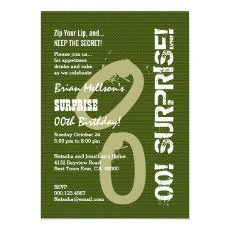 ÜBERRASCHEN Sie jedes Jahr-Geburtstags-olivgrüne 12,7 X 17,8 Cm Einladungskarte
