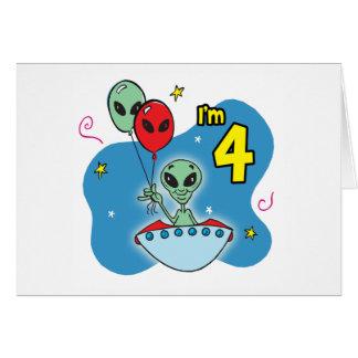 UFO-alien-4. Geburtstag Karte