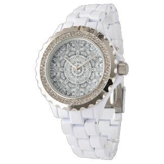 Uhr der weißen Blatt-Muster-die Vintage Frauen