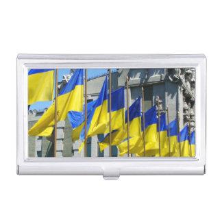 Ukrainische Flaggen Visitenkarten-Schatulle