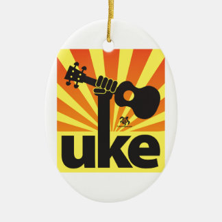 Ukulele-Power Ovales Keramik Ornament