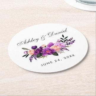 Ultraviolette lila Blumenwatercolor-Hochzeit Runder Pappuntersetzer