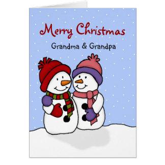 Umarmen der Schneemänner Weihnachtskarte Grußkarte