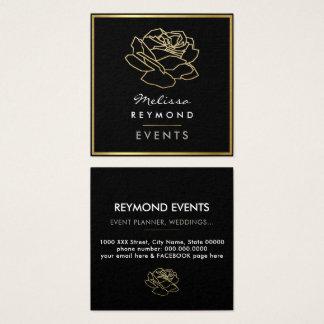 umrissene Rosen-Blume, Ereignisse mit Blumen Quadratische Visitenkarte