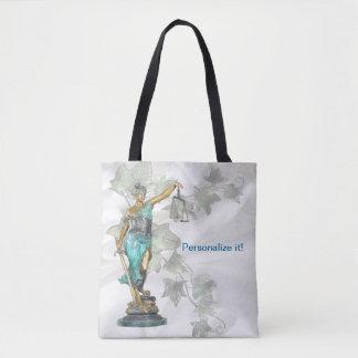 Umschaltbare Dame Justice und 3D Veritas auf Blau