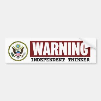 UNABHÄNGIGER DENKER Regierungs-warnender Aufkleber Autoaufkleber